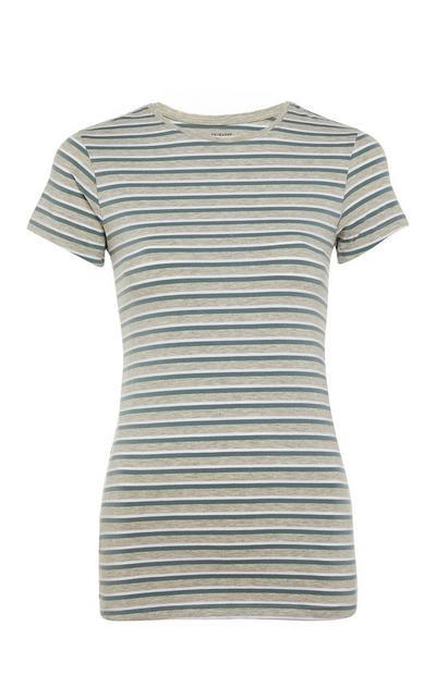 T-shirt elastano riscas verde
