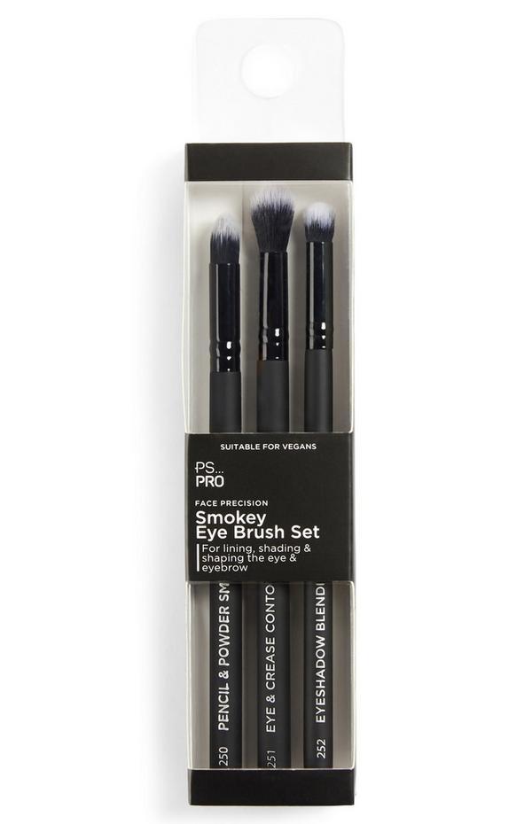 Lot de 3 pinceaux de précision pour ombre à paupières effet smoky eyes PS Pro