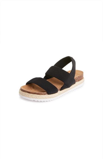 Black Elastic Jute Sandals