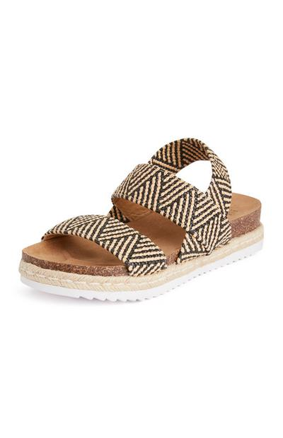 Black and White Elastic Jute Sandals