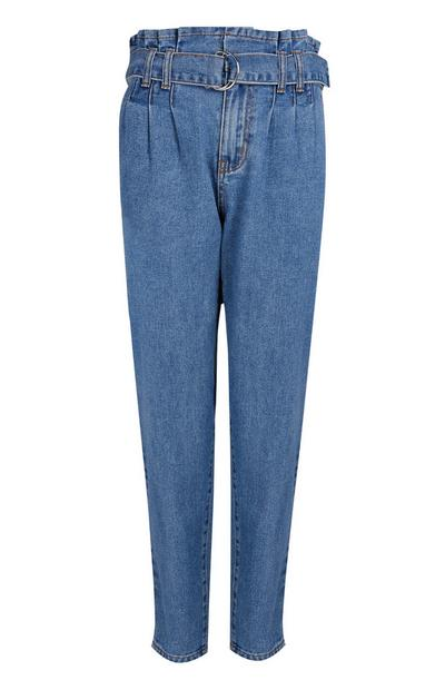 Blue Paperbag Waist Mom Jeans