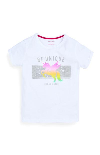 Older Girls White Unicorn T-Shirt
