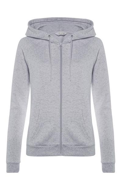 Gray Plain Zip Up Hoodie