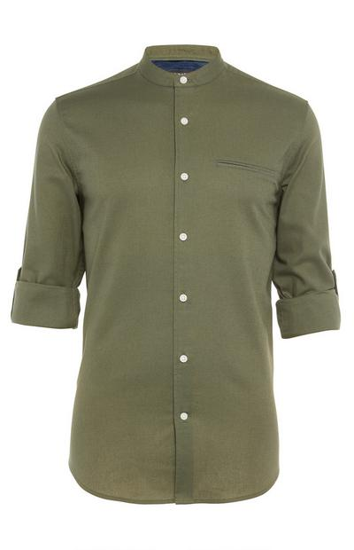 Olive Roll Sleeve Banded Collar Shirt