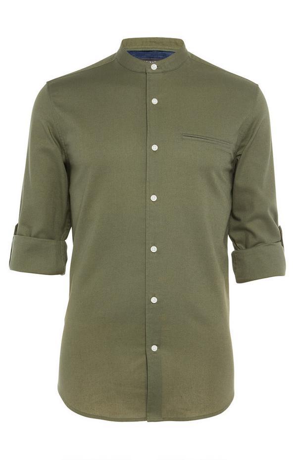 Khaki Longsleeved Grandad Roll Sleeve Shirt