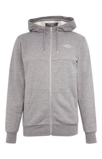 Grey Texture Zip Up Hoodie