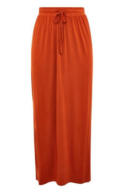 Burnt Orange Jersey Maxi Skirt