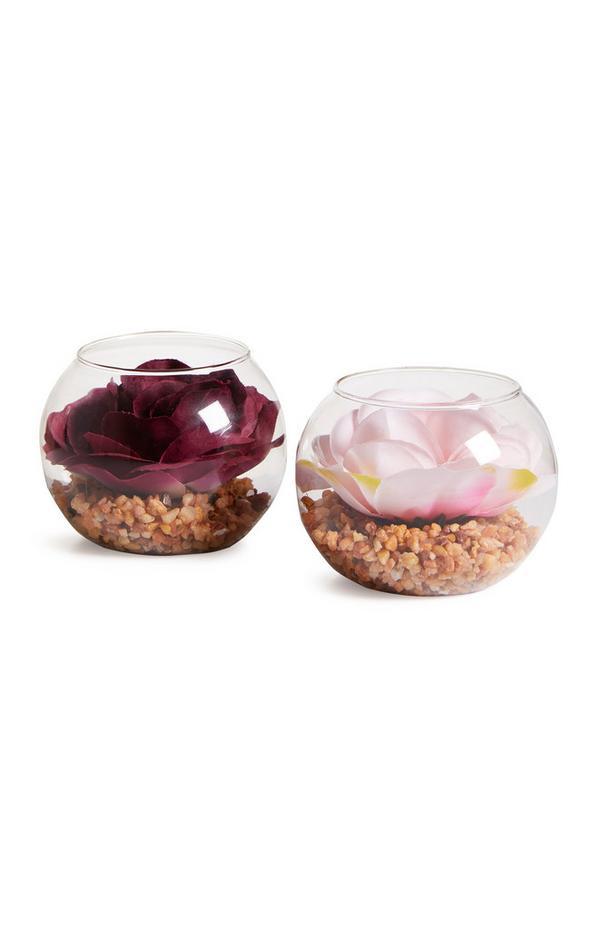 Mini fleurs artificielles en verre