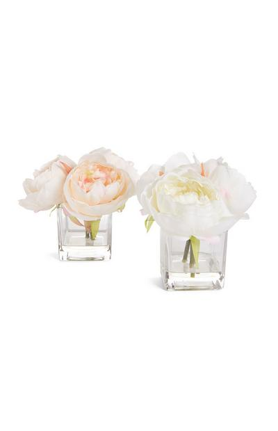 Kleine Glasvase mit Kunstblumen