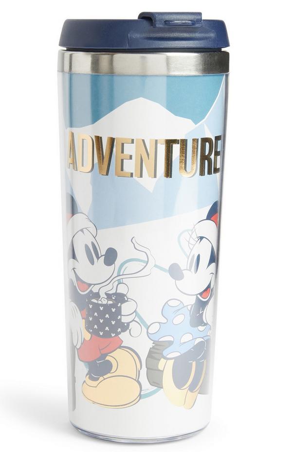 Vaso térmico de Mickey y Minnie con texto «Adventure»