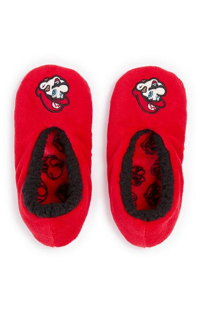 Boys Red Mario Slippers