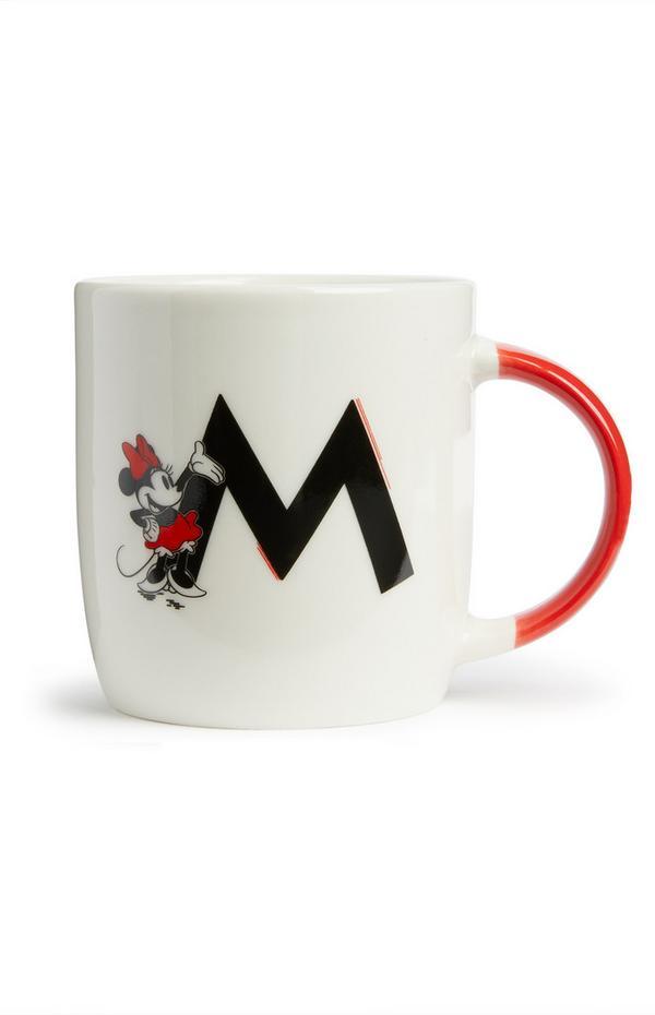 Taza con letra del alfabeto y motivo de Mickey y Minnie