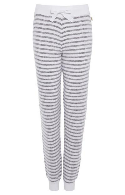 Leggings pijama super macias riscas cinzento/branco