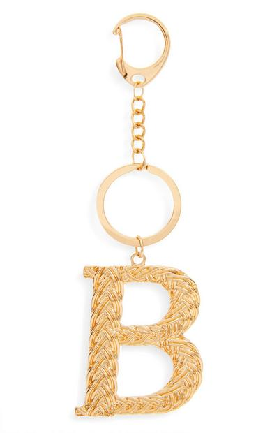 Goldtone Plaited Metal B Initial Keyring
