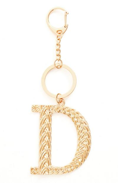 Goldtone Plaited Metal D Initial Keyring