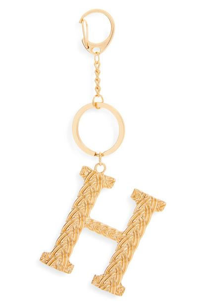 Goldtone Plaited Metal H Initial Keyring
