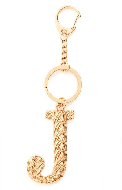 Goldtone Plaited Metal J Initial Keyring