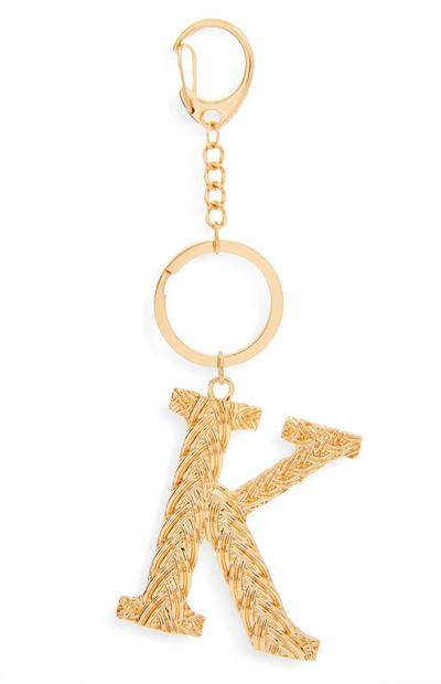 Goldtone Plaited Metal K Initial Keyring