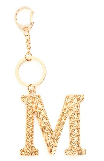 Goldtone Plaited Metal M Initial Keyring