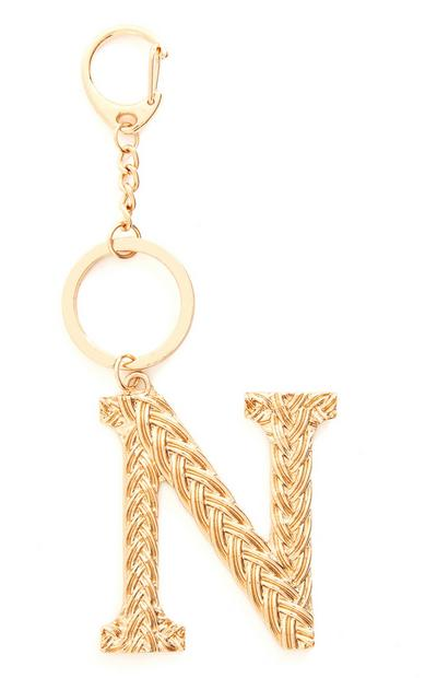 Goldtone Plaited Metal N Initial Keyring