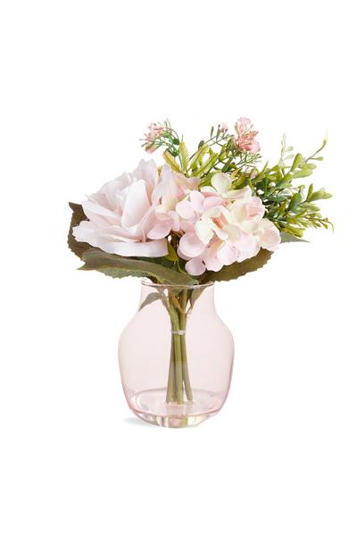 Large Pink Glass Vase With Faux Flowers