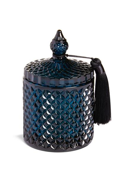 Dark Blue Lidded Tassel Candle