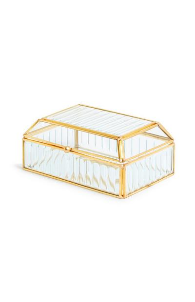 Fluted Glass Jewelry Box