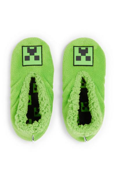 Boy's Green Minecraft Slippers