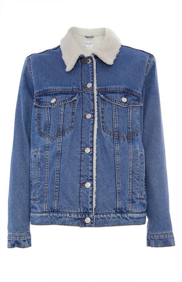 Blue Denim Borg Jacket