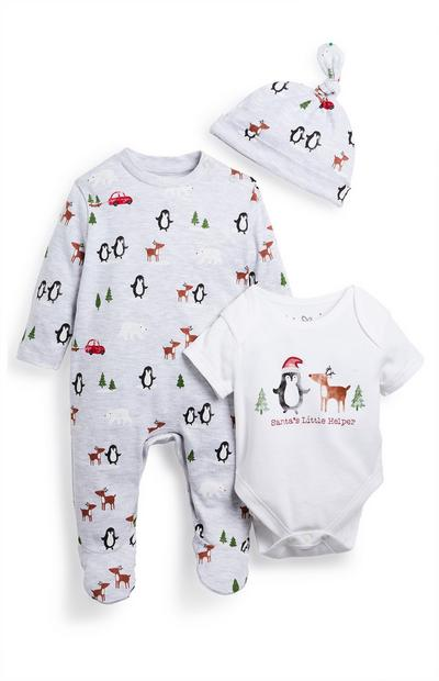 Newborn Baby Grey Christmas Sleepsuit And Hat