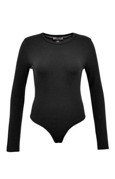 Black Longsleeve Ribbed Bodysuit