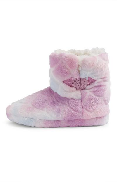 Older Girl Pink Mermaid Bootie Slippers