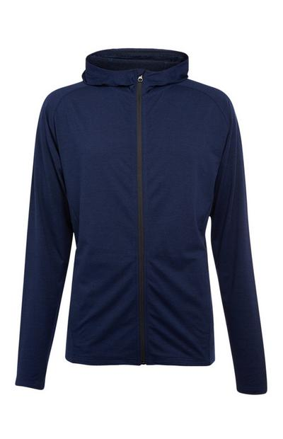 Navy Super Stretch Zip Up Top