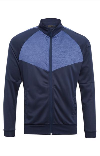 Navy Colour Block Zip Up Tracksuit Top