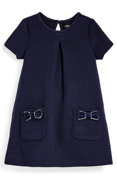 Robe bleu marine en point de Rome fille