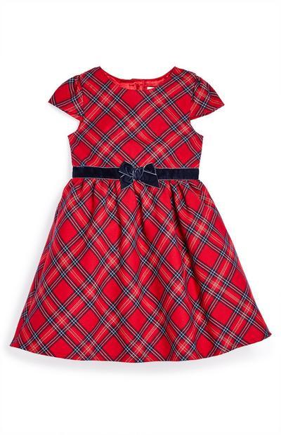 Obleka z vzorcem tartan za mlajša dekleta za posebne priložnosti