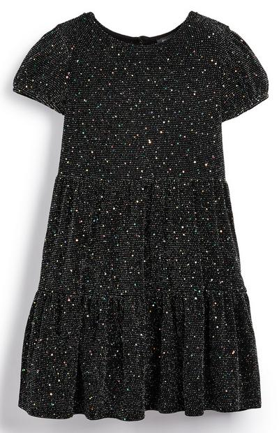 Younger Girl Black Tiered Sparkle Dress
