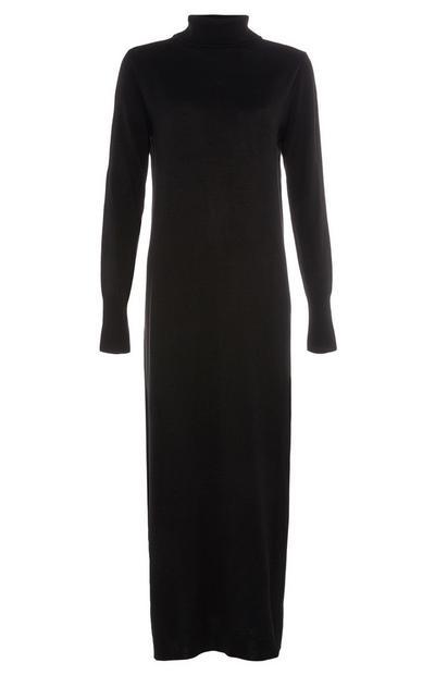 Schwarzes, langes Kleid mit Trichterkragen