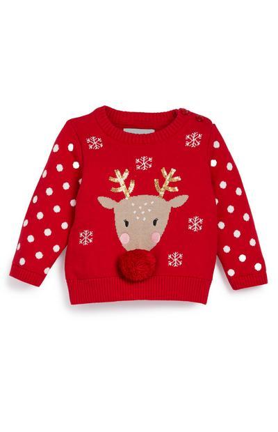 Roter Weihnachtspullover mit Rentier-Motiv (kleine Jungen)