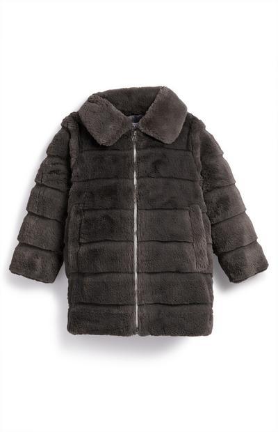 Abrigo de pelo sintético gris marengo para niña