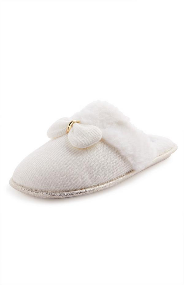 White Metal Bow Faux Fur Mule Slippers