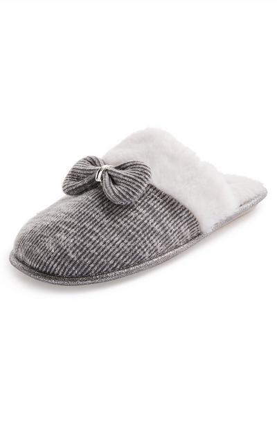 Grey Metal Bow Faux Fur Mule Slippers