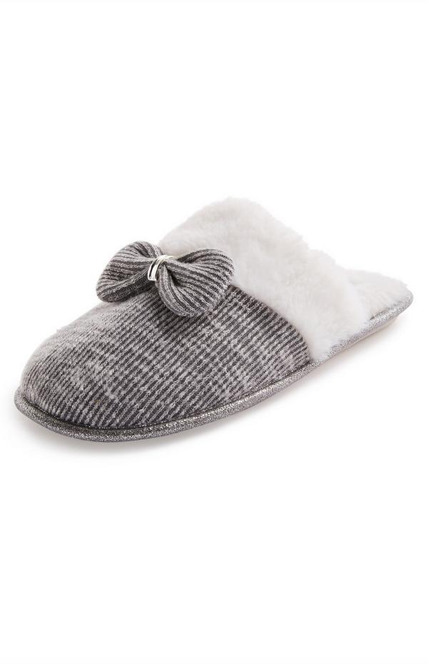 Grey Metal Bow Faux Fur Mule Slippers