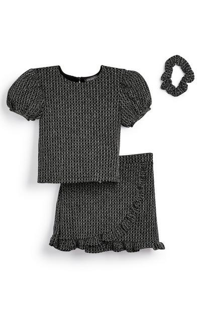 Conjunto de falda, camiseta y coletero en negro con purpurina para niña pequeña