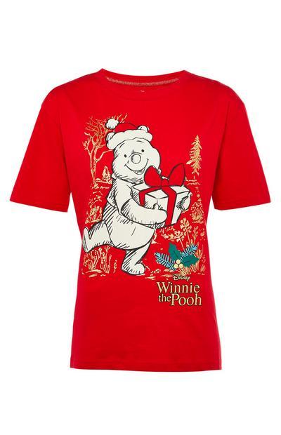 T-shirt de Noël rouge Winnie The Pooh