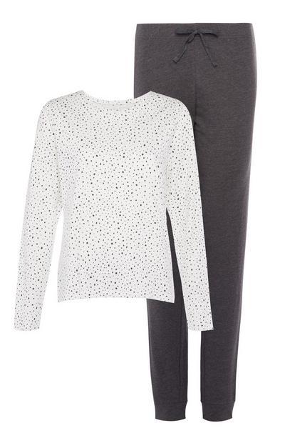 White and Grey Pyjama Set