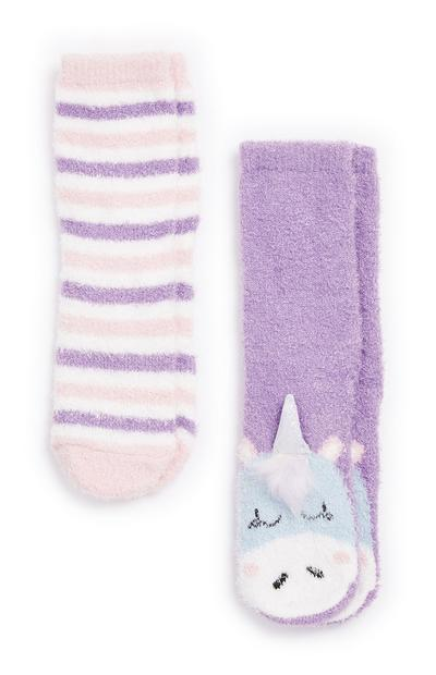 2-Pack Girl's Unicorn Cozy Socks