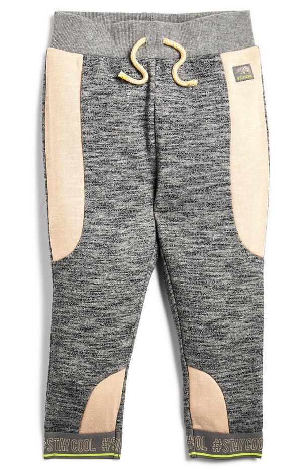 Baby Boy Grey Elastic Rib Joggers