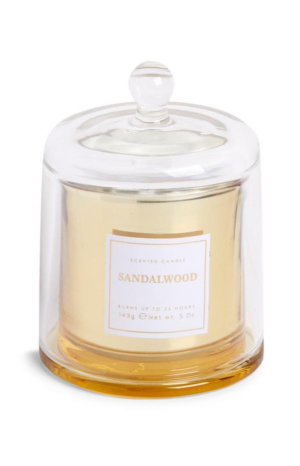 """""""Sandalwood"""" Duftkerze mit Glasglocke"""
