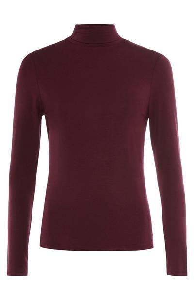 Maroon Roll Neck Jumper